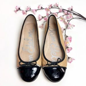 Sam Edelman Tan & Black Becka Quilted Ballet Flats